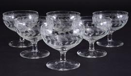 Lot 1: 6 Etched Vine & Stripes Sherbet Glasses