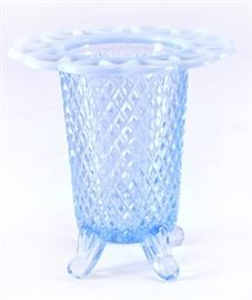 Lot 4:4 Footed Lace Edge Blue Opalescent Glass Vase