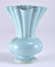 Lot 9: Ruffled Top Edge Bulbous Base Ceramic Vase