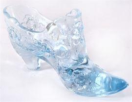 Lot 12:  Fenton Blue Cabbage Rose Shoe