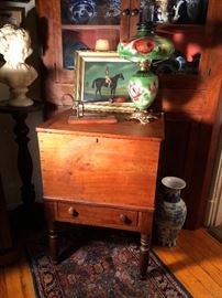 Circa 1830 Boyle County Kentucky cherry Sugar Chest with dovetailed case, divider, drawer