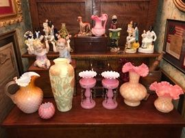 Galle poppy vase, lustres, Fenton, early art glass, piano babies, Staffordshire pieces from 1800s