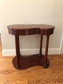 "wonderfully unique shape to this entry or anywhere table.  antique and in mint condition table measures 28""w x 17""d x 25""h more gorgeous wood!  asking $180"