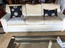 "pair of custom sofas, down wrapped cushions neutral fabric in mint condition.  Each measures 86""l x 33""h x 40""d  asking $300 each"