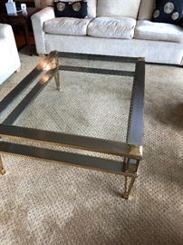 "Metal and brass coffee table with beveled glass  50""l x 38""w x 18""h  asking $260"
