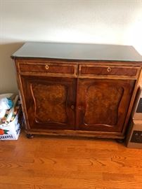 "stone topped antique cabinet dimensions are 42""w x 18""d x 36""h  another fine piece with interesting burled wood  asking $380"