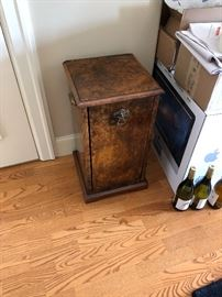 "antique coal scuttle or bin - useful end table!  Measures 13"" x 13"" x 24""h  asking $60  great display stand too!"