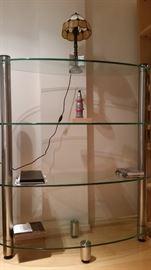Etagere ,4 Open Glass Shelves, Steel Legs,Hillside Furniture