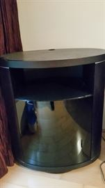 Stand,Espresso on oak, Rotatable, Oval Shape, Glass Door and Shelves,Hillside Furniture