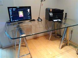 Desk (Dining table), Glass/chrome base, 35.5''x 72'',Hillside Furniture