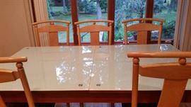 Sliding Dinner Table, 39.5''x 71'', Glass Desk, Extended 39,5''x 91''