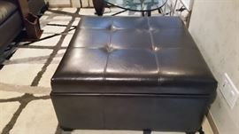 Bonded Leather Storage Ottoman, Brown	34''x 34''x 18''