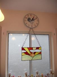 Stained Glass and Rooster clock