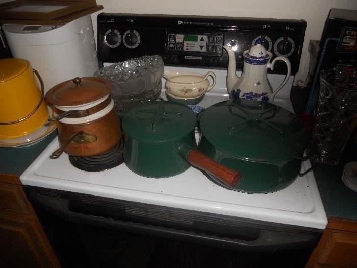 Cast iron Enamel Pots and Copper Boiler
