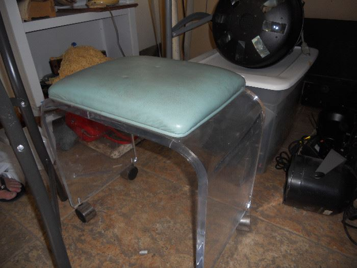 Lucite Stool on wheels