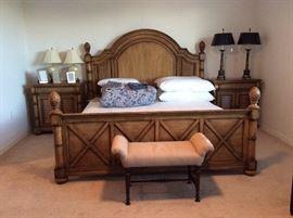 Cindy Crawford Key West Tobacco Panel King Bed, Nightstands, newer Sealy Posturpedic Matresss ....