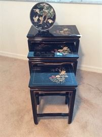 Black Lacquered Oriental Nesting Tables....