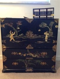 Antique Chest with Drawers, hand painted, mother of pearl relief....