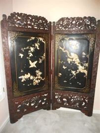 Very old Asian screen. Ornate carvings, and beautiful inlay.