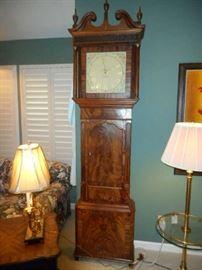 1760 English Flame Mahogany tall case clock by