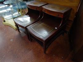 Mahogany step back end tables