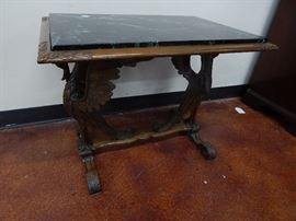 Antique Carved Ducks Marble Top Table