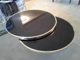 Round mid-century coffee table very unusual movable it closes to being one table