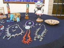 Native American Vintage jewelry Hopi earing  Navaho squash blossom  Turquoise nugget 24 inch Zuni enlay pendants  +++