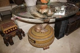 FISH END TABLE. 2 AVAILABLE ONLY 1 WITH GLASS