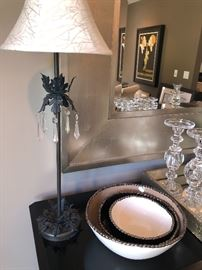 Iron and crystal buffet lamp (2 available) and set of pewter and enamel bowls, mirror and glass pillar holders