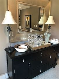 Sideboard - matched the counter height table, large modern mirror, buffet lamps (iron and crystal), glass pillar holders, enamel and pewter bows, and MORE!