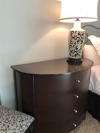 half-round nightstand chest or entryway piece and designer lamp