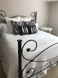 King ron bed - black,  STEARNS & FOSTER mattress set and designer linens