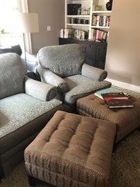 Matched set of 2 Pearsons Arm Chairs and ottomans