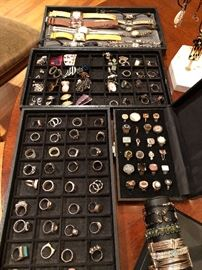 Extensive collection of sterling silver jewelry - some with semi-precious stones