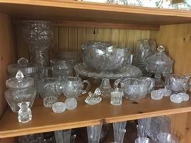 Many pieces of Glassware including salt dishes