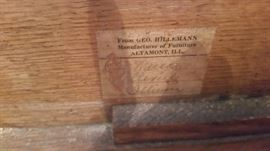 NAME ON INSIDE OF BED FRAME  SAYS FROM GEO. HILLEMANN MANUFACTURER OF FURNITURE ALTAMONT, ILL