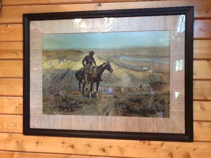 beautiful large print native am and horse