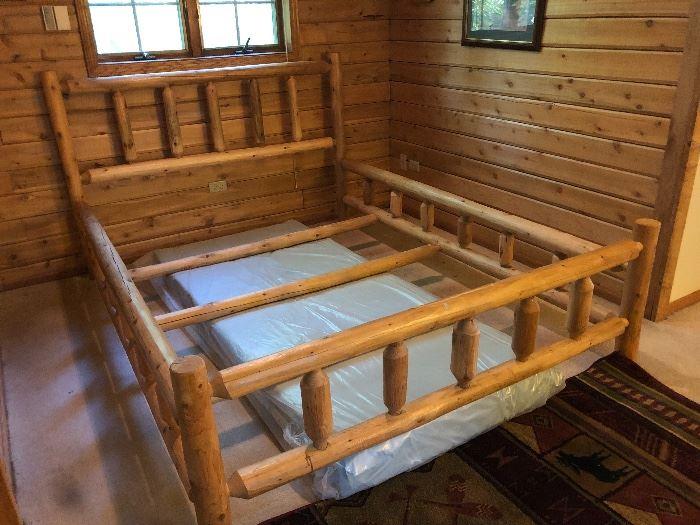 Queen size log cabin bed