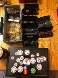 Antique gold and gold filled Eye Glasses political buttons
