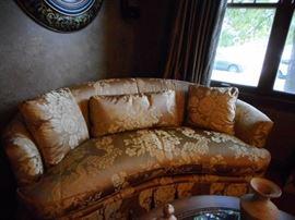 Gold SILK Kidney Sofa, Skirted. Love Seat