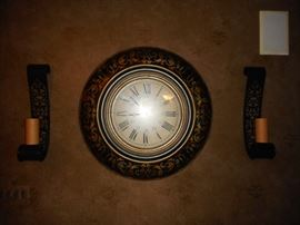 Hand Painted LARGE Clock. Wall Sconces