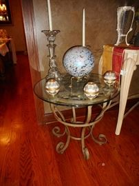 Richard Honquest Furniture of Barrington. Beveled Glass Hand Forged Iron, Occasional Table (1)