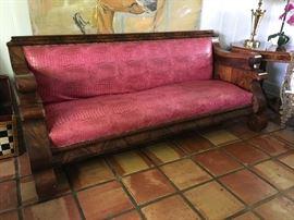 American Flame Mahogany Empire Sofa