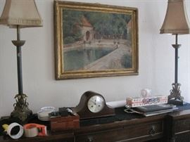 clock, lamp & print