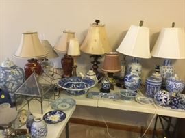 Blue & China decorator pieces and lamps