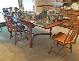Maple Dining Table, 6 chairs & Pewter