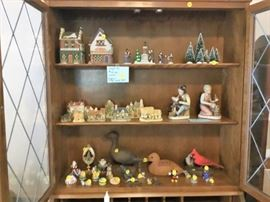 Collectibles, signed duck carvings, Christmas village
