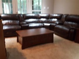 Sectional leather sofa and coffee table