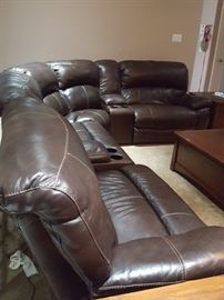 Ashley Furniture - Leather sectional sofa with 3 electric recliners
